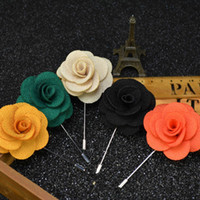 Wholesale Corsage Boutonniere Wholesale - 16 Colors Men's Lapel Pins Brooches For Wedding Suits Fabric Flower Handmade Boutonniere Accessories Uxedo Corsage Brooch Pins
