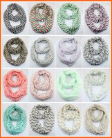 Wholesale chevron infinity - Free UPS Ship Woman Zigzag Chevron Wave Print Scarf Circle Loop Cowl Infinity Scarves Ladies Scarves Voile Multi color printing woven scarf