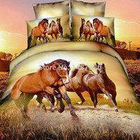 Wholesale Quilt Cover Set Leopard - Wholesale-oil print Leopard animal 4pc bedding set 3D MEN Quilt Duvet cover bedsheet sets cotton king queen bed linen sets Luxury bedcover