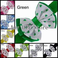 Wholesale Order Boutique Bows - Free Shipping 15pcs lot Trail Order Grosgrain Ribbon Boutique Hair Bows With Elastic Hairbands Baby Girls Hair Band Accessories