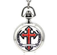 Wholesale Wholesale Silver Cross Watches - Hot sales Fashion quartz Christian Cross pattern enamel White steel unisex pendant Necklace chain pocket watch