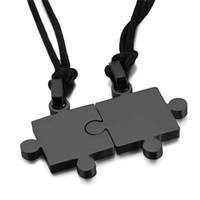 Wholesale Couple Necklace Black Gold - 2pcs Mens Womens Couples Stainless Steel Puzzle Pendant Love Necklace Set, Black Silver Factory Wholesale 2017