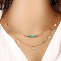 Wholesale Wholesale Sequins China - Multi Layered Necklace Gold Plated Chains Turquoise Beads Sequins Necklaces Pendants For Women Hot European Simple 20pcs lot