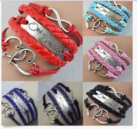 charme für armbänder eine richtung großhandel-Mode Infinity Armbänder nachgeahmt Leder Buchstaben One Direction Double Heart Multilayer Charm Aussage Armband Vintage Frauen Schmuck