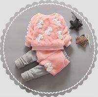 pelz-pullover großhandel-Warme Winter Kinder Kinder Baby Infant Mädchen Verdicken Samt Faux Pelz Bogen Pullover Pullover Top + Hose Legging Kleidung Sets