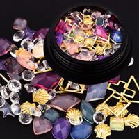 Wholesale Golden Nail Stickers - Mix Nail Art Decorations Golden Shell Gem Stones Metal Frames Irregular Crystal Diamonds 3d Manicure Uv Gel Polish Sticker New
