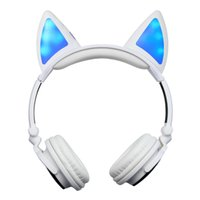 Compra Cuffia Avricolare Bianca-LX-BL108 Bluetooth senza fili incandescente White Cat Cuffia Over-Head Cosplay Gaming Earphone Incandescente lampeggiante Ricaricabile