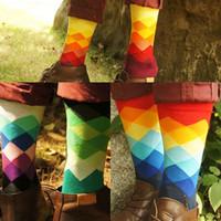 Wholesale Dimond Socks - 2014 spring and summer colorful gradient dimond plaid british style street fashion men knee-high 100% Men cotton sock 6pairs lot
