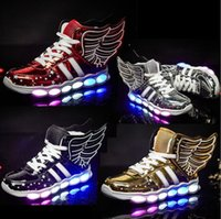 Wings USB Charge Sneakers per bambini incandescente con illuminazione a Led Licht Schoenen Toddler Boys Girls Scarpe sportive da ginnastica a rulli