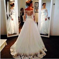 Wholesale Tulle Wedding Belt Shoulder - Vestido de Casamento 2016 Elegant Wedding Dress Appliques Custom Made Off the Shoulder Belt Beaded Long Sleeve Bridal Gowns W3396