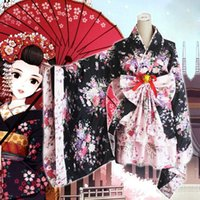 Wholesale Princess Kimono - New Heavy Sakura Cosplay Anime Outfit Japanese Kimono Maid Lolita Costume Princess Dress Vestidos