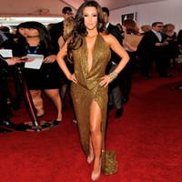 Wholesale Kim Kardashian White Halter Dress - Carpet 2015 Kim Kardashian Dress Sparkling Sexy V-Neck Backless Gold Long Celebrity Dresses Women Summer Dress Evening Prom Gown