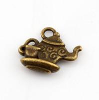 Wholesale Bronze Teapot - Hot ! 200pcs Antique Bronze Zinc alloy Teapot Charm pendants 13.5 x15mm DIY Jewelry