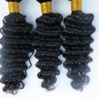 Wholesale human hair wefts deep waves resale online - Virgin Human Hair Weaves Brazilian Hair Bundles Deep Wave Curly Wefts Unprocessed Peruvian Indian Malaysian Human Hair Extensions