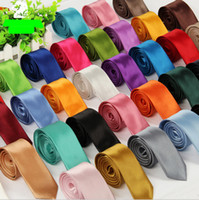 Wholesale Plain Skinny Ties - best-selling 40 Colors New Fashion Mens Skinny Solid Color Plain Satin Tie Necktie Wedding Neck Ties