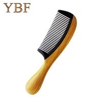 Wholesale Natural Horn Hair Comb - YBF Diaphanous Handmade Natural Ox Horn Green sandalwood Comb Wooden Handle Combs Style Designer Professional For Ladies