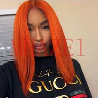 Wholesale orange front lace synthetic wig - MHAZEL Middle Part Orange Hair Synthetic Lace Front Wig for Woman Natural Straight 14inch picture stock