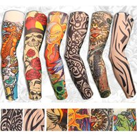 Wholesale Tattoo Nylon Gloves - Wholesale- 6Pcs Fashion Stretchy Slip on Temporary Tattoo Sleeves Cool Arm Stockings Cover