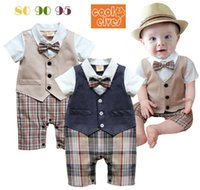 Wholesale Kids Clothes Size 95 - Clothes for kids For 2015 The new Summer Baby jump suit Gentry Plaid Short sleeve Baby boy romper 2 Color 80-95 Size Z04