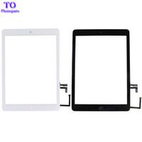 ipad hava cam dokunmatik ekran toptan satış-Ev Düğmesi Değiştirme ile Dokunmatik Ekran Digitizer Cam iPad Hava iPad 5 Gen Beyaz Siyah Ücretsiz Kargo