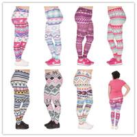 Wholesale Printed Leggings Large Size - DHL FREE!! 10pcs lot Large Size Women Leggings Aztec Morski Printing Stretch High Waist Plus Size Trousers Pants For Plump Women 7 Styles
