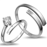 Wholesale Wedding Ring Pairs - Free shipping 925 sterling silver jewelry simple diamond smooth glossy pair adjustable new arrival wedding rings