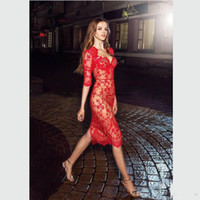 Wholesale Long Sleeve Celebrity Event Dresses - 2017 Modern Fashion Red Lace Evening Gowns Knee Length Half Sleeve Sheer Sheath Cocktail Party Dress Event Celebrity Gown