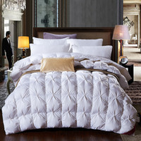 Wholesale duvet duck - Wholesale- 95% white goose feather  duck down comforter duvet winter thick comforter autumn quilt blanket king queen twin size
