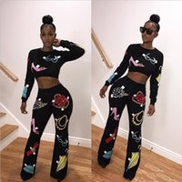 Wholesale Female Sports Wear - Sexy Women Sports Wear Two Piece Set 2017 Female O Neck Shorts Crop Tops High Waist Long Pants 2 PCS Printed Jumpsuits Outfit Tracksuit