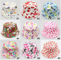 Wholesale Childrens Hats Girls - 2015 childrens babys bucket hat Photography Hat child Kids Sun Hat Floral CapsTravel Necessity for2-6ages Boys Girls Children
