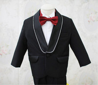 Wholesale Little Boys Pinstripe - Hot Sale Fashion 2015 Boy's Formal Occasion Suit Little Men Wedding Tuxedos Boy Party Birthday Suits (Jacket+Pants)q17