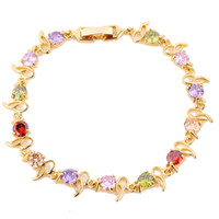 Wholesale Gold Plated Pearl Jewellery - 1pc lady's 24K yelllow Gold Filled Jewellery multicolor clear bracelet best gift free shipping