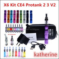 X6 V2 Kit 1300mah X6 Batterie Tension Variable 3.6V-4.2V avec X6 Sac Big Vapor CE4 Protank 2 Protank 3 V2 Atomiseur E Cigarette X6 Kit Instock