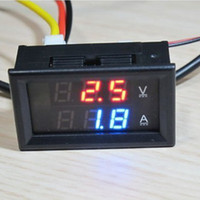 Wholesale Cheapest Gauges - Cheapest price Red Blue LED DC 0-100V 10A Dual display Meter Digital Voltmeter Ammeter Panel Amp Volt Gauge Red+Blue LED Display