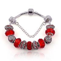 Wholesale European Murano Beads Bracelets - Fashion European Style Charm Bracelets DIY Murano Glass Beads & Sliver Charms Snake Chain Bangle Bracelet for Women BL017