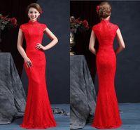 Wholesale Red Mermaid Chinese Wedding Dress - High Quality High Neck Sleeveless Chinese Mermaid Cheongsam Wedding Dresses 2015 Floor Length Zipper Back Red Lace Wedding Dress Bridal Gown