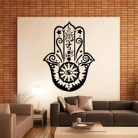 Design de arte Hamsa Decalque de parede de mão Vinyl Fatima Yoga Vibes Sticker Decalques de olho de peixe Indian Buddha Home Decor Lotus Pattern Mural