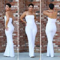 Wholesale Women Maternity Pants - Elegant White Jumpsuit Evening Dresses Strapless Full Lace Bodice Pants Women Formal Bridal Party Gown Custom 2017