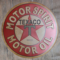 ingrosso scatole di natale rotonde-Motor Spirit Oil Texaco Round Retro impresso Targa in metallo Poster Wall Bar Ristorante Garage Pub Coffee Home Decor Regalo di Natale