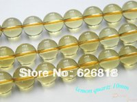 Freeshipping Natural Yellow Lemon Quartz 10 milímetros lisa Rodada Limpar Atacado Crystal Bead Encantos Pulseiras europeus