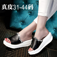 Wholesale Small Yards 31 Size - Wholesale-Genuine leather 41 - 43 women's plus size shoes sandals swing 42 platform shoes small yards shoes female sandals 31 32 33