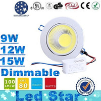 Wholesale Dimmable Cob Led Ceiling Light - (Silver Body) Newest Dimmable Led Downlights 9W 12W 15W COB Led Down Light Recessed Ceiling Light 120 Angle AC 85-265V + CE ROHS UL