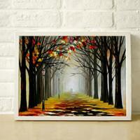 palettenmesser landschaft großhandel-100% Hand malen moderne Spachtel Landschaft Ölgemälde auf Wand Kunst Leinwand Qualität Wohnkultur JL045