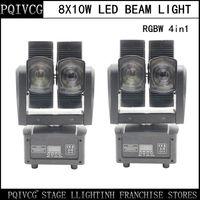 Wholesale Dual Moving Head - Wholesale- NEW! 2pcs 8X10W led beam light rgbw 4in1 80w beam light dual head moving head light dmx pofessional stage lights