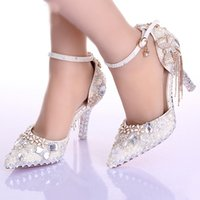 Wholesale ivory wedding boots - Pointed Toe Ankle Strap Boots Bridal Shoes Ivory Pearl Wedding Party Dress Shoes Rhinestone Pumps for Wedding Events Prom Shoes
