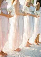ingrosso abiti estivi bridemaids-Custom Made 2016 High Low Chiffon Sweetheart Beach Bridemaids Abiti Beads Ruffle Summer Wedding Party Pink Chiffon Junior abito da damigella d'onore