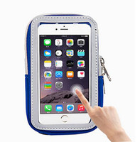 Wholesale Zipper Case For Mobile Phone - For iPhone Universal Sports Armband Gym Pouch Running Jogging Arm Band Case Pouch Holder Bag Mobile Phone Large Bag Reflective Zipper Case