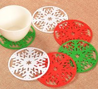 Wholesale Dishes Decor - 100pcs lot Merry Christmas Snowflakes Cup Coaster Mat Xmas Decorations Dinner Party Dish Tray Pad for Home Decor free shipping
