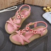 Wholesale Comfortable Flip Flops For Women - Plus size womens sandals comfortable flower rhinestone shoes beach flip flops for women bohemian sandals size 35 to 40 41