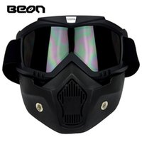 Wholesale Motorcycle Helmets Crosses - 2016 New Authentic BEON Retro Harley models off-road motorcycle helmet goggles Cross country anti-fog goggles mask black color